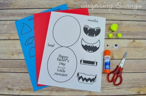 supplies needed for Monster father's day card