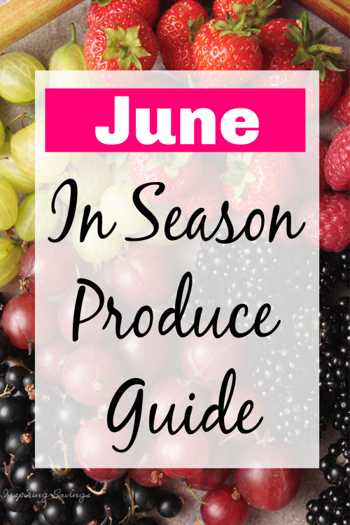 Seasonal June Berries on cutting board with text overlay - In Season Produce Guide