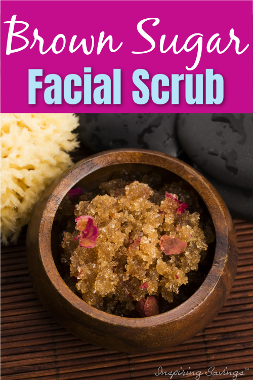 Brown Sugar facial scrub in brown wooden bowl