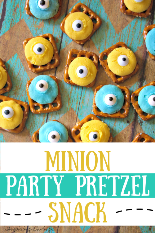 Pretzel with colored chocolate with edible googly eyes - Minion Party Pretzel