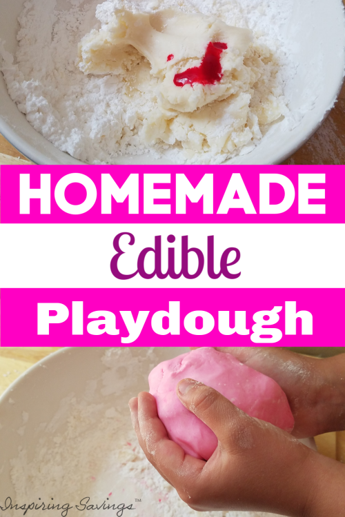 Collage of homemade edible playdough