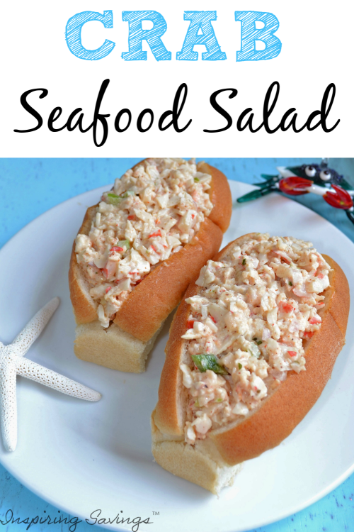 Crab Seafood Salad in Split top rolls on white plate