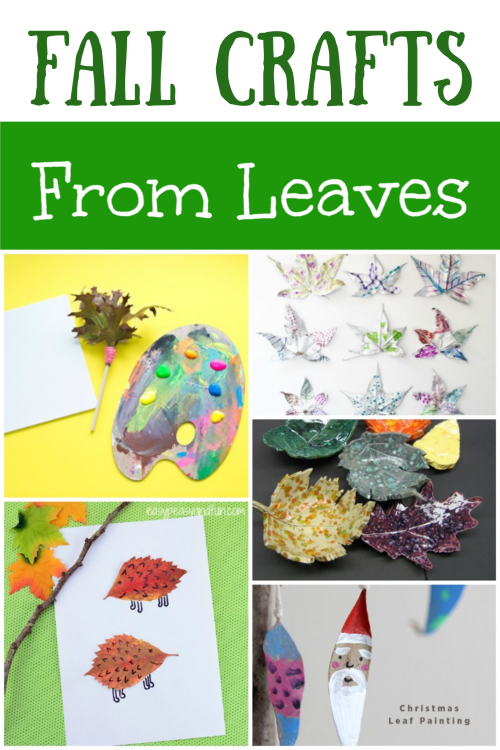 Collage of crafts created by leaves for kids