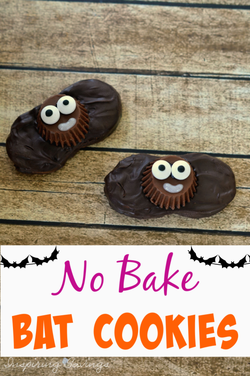 Two Halloween Nutter Butter No Bake Bat Cookies on Brown Background