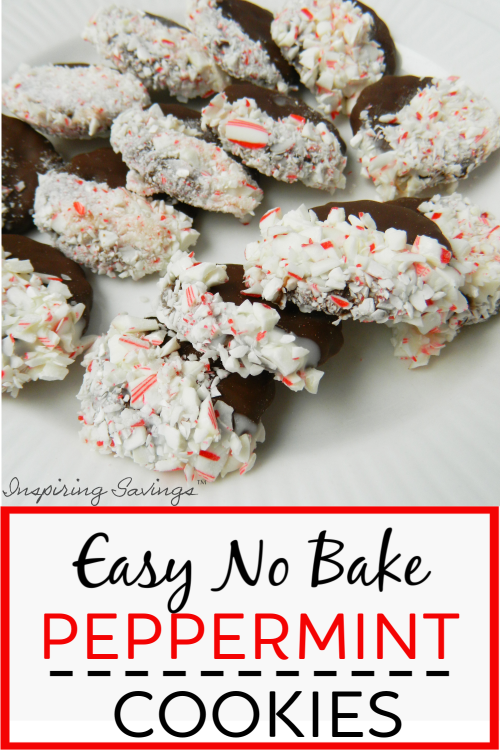 Easy No Bake Peppermint cookies on white plate