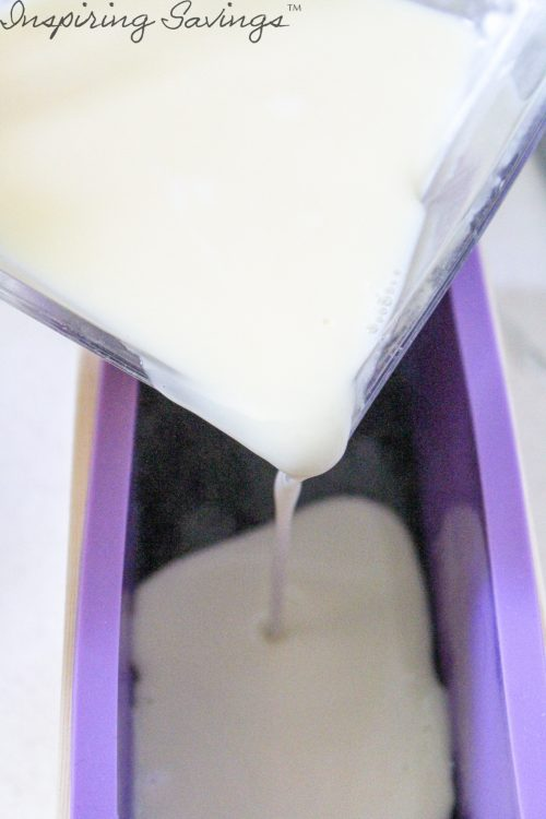 Pouring melted soap into soap mold