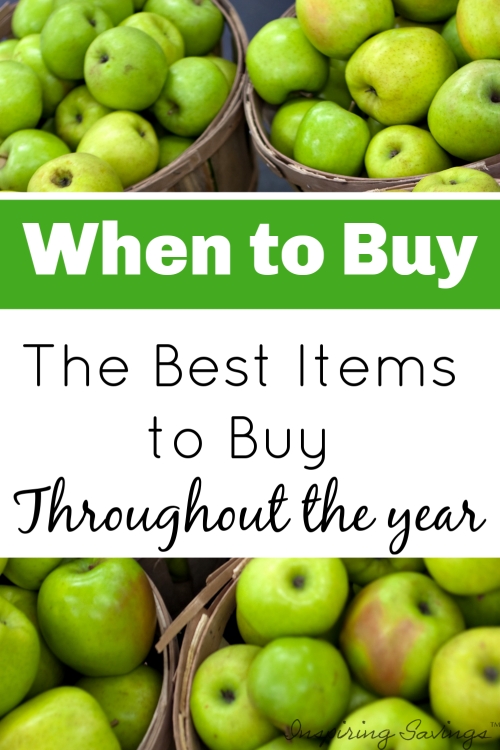 """Apples in baskets with text overlay """"When to buy"""""""