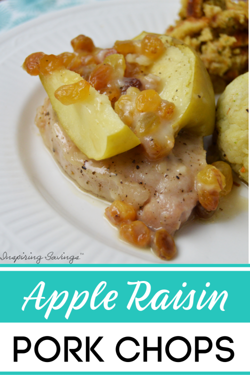 Need a fast & easy pork chop recipe? You will want to try this Easy Apple Raisin Smothered Pork Chops. Comfort food at its best. Made right on your stovetop in a skillet pan. Just super healthy & quick.