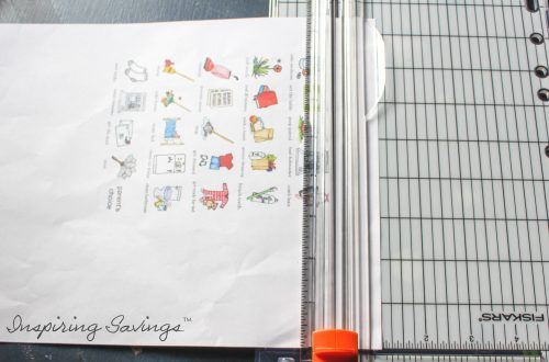 Cutting Chore Magnet Sheet with paper cutter