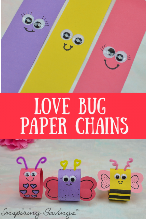 Kids just love crafting. Make these adorable Valentine's Day Paper Chains. Each one is a unique love bug. Use them as a count down to Valentine's day or cute home decor.