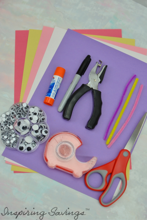 Supplies needed for making valentine's day paper chains