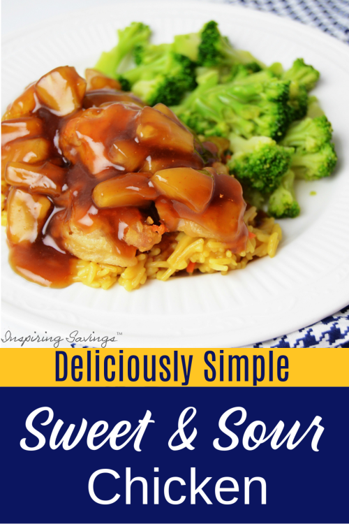 Sweet & Sour Chicken on White Plate