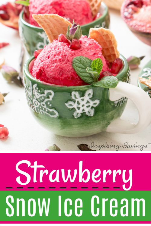 Homemade Strawberry Snow Ice Cream in green coffee cup