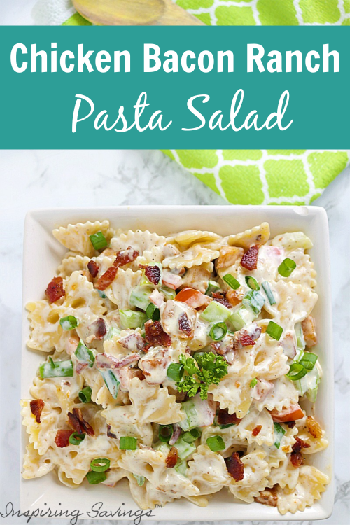 Ranch Pasta Salad in white bowl with green napkin