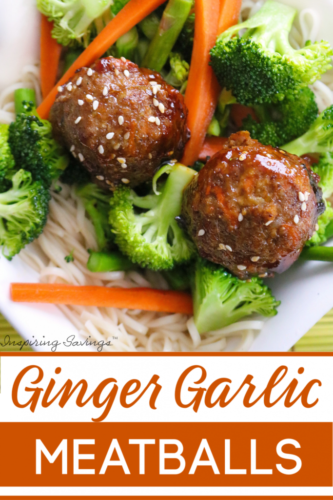 """Ginger Garlic Pork Meatballs with broccoli on white plate. Image contains text overlay """"Ginger Garlic Pork Meatballs"""""""