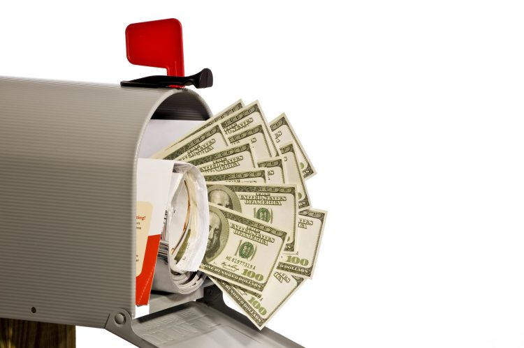 Mail box with mail and money - Get free coupons by mail