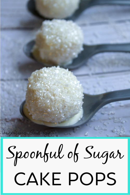 Spoon full of sugar cake pops on gray plastic spoon