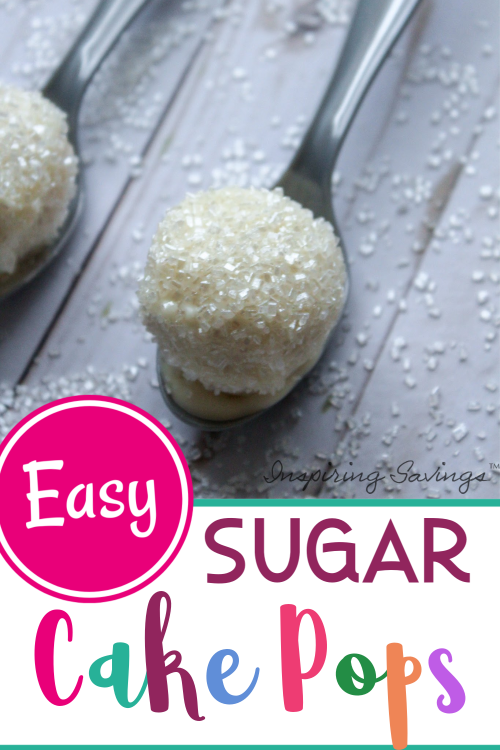 Easy Sugar Cake Pops on Silver spoon with Sugar Sprinkles around