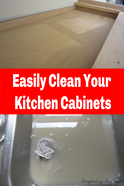 Top of kitchen cabinet with dirt and dirty water