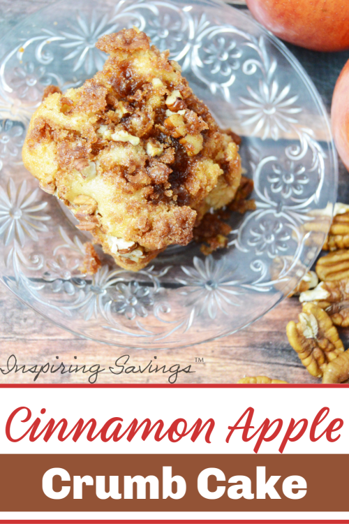 Cinnamon Apple Crumb Cake on clear glass plate