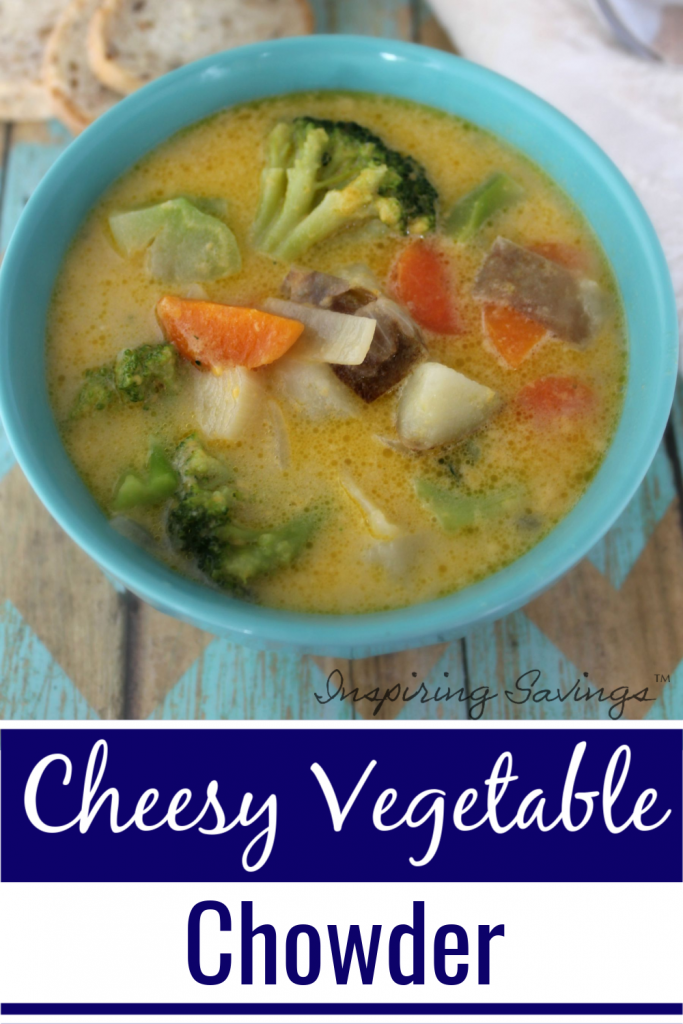 Cheesy Vegetable Soup in blue bowl