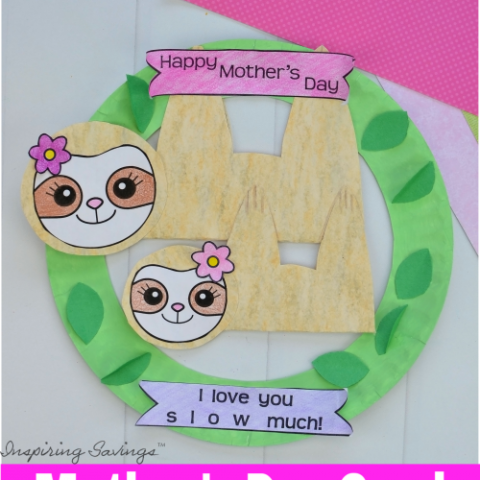Heartwarming DIY Mother's Day Card - Sloth Wreath