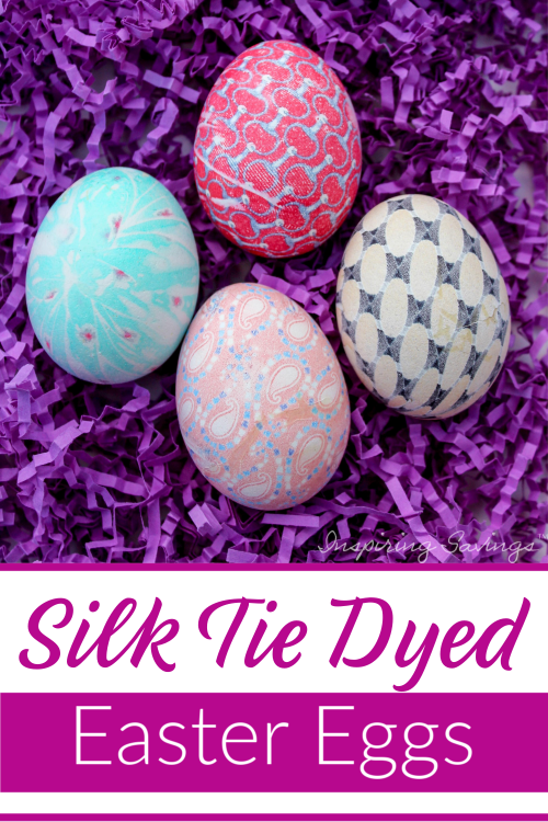 Silk Tie Dyed Easter Eggs on Puple background
