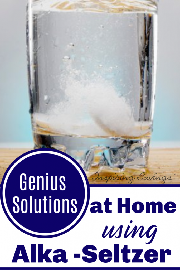 """Glass of water with alk-selter table with image containing text overlay - """"Genius Solutions at home using Alka-Seltzer"""""""