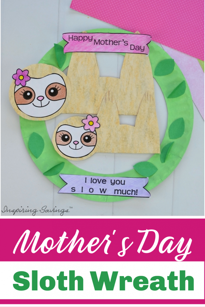 Finished Mother's Day Sloth Wreath Craft for Kids