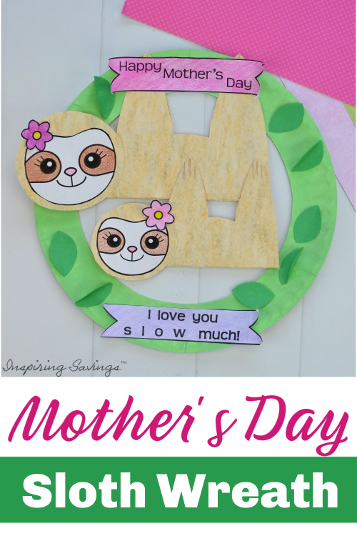 Completed Mother's Day Sloth Wreath