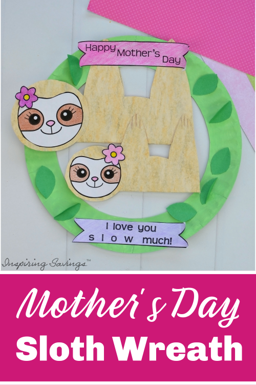 Mother's Day Card - Sloth Wreath