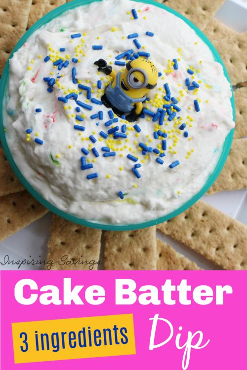Funfetti Cake Batter Dip in blue bowl served with graham crackers