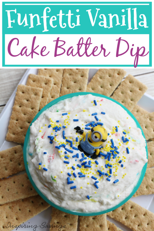 Funfetti Cake Batter Dip Mix - a quick, easy and delicious treat perfect for any occasion! So creamy and made with funfetti cake mix, yogurt, vanilla, cool whip, and sprinkle. Perfect for your next Minion Birthday party or summer get together.