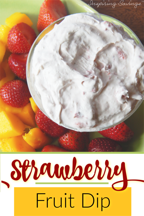 This creamy strawberry fruit dip has only four ingredients. If you want a simple dip, that's the perfect complement to fruit, especially strawberries, try this one. This strawberry dip is made with cream cheese & cool whip