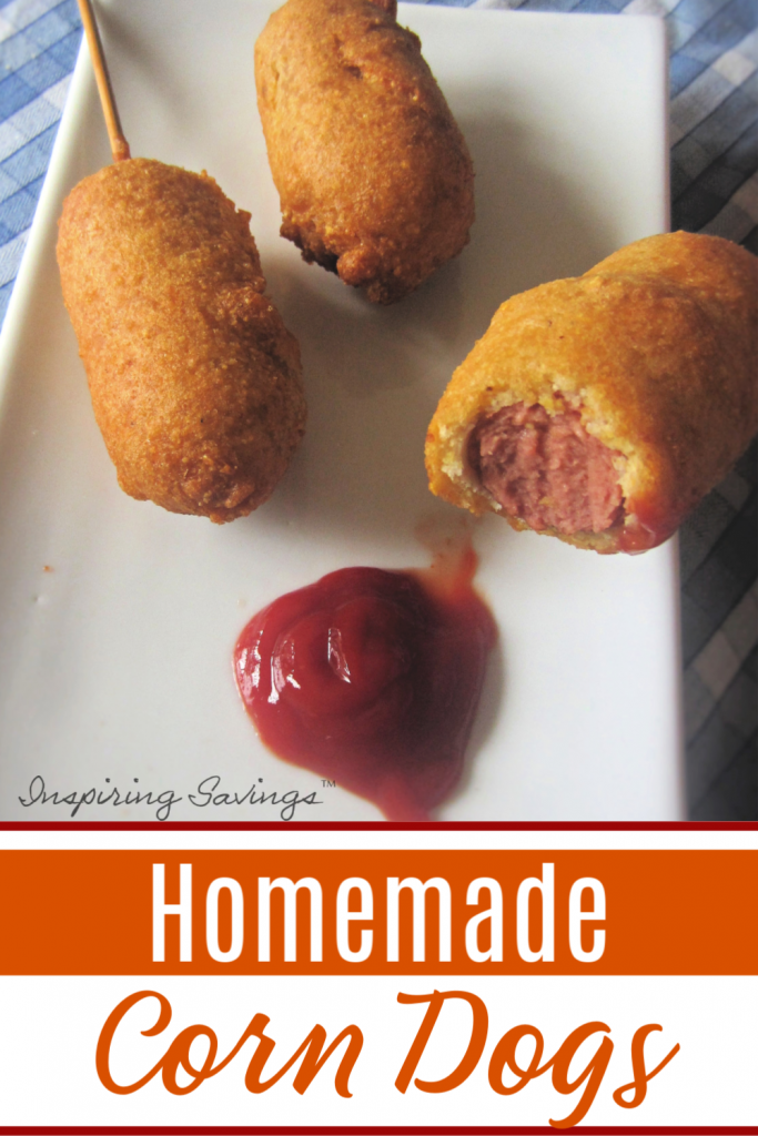 homemade Corn Dogs on white plate with Ketchup