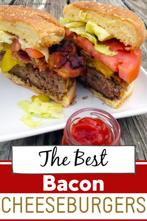 The Best Bacon Cheeseburgers - on white plate with ketchup