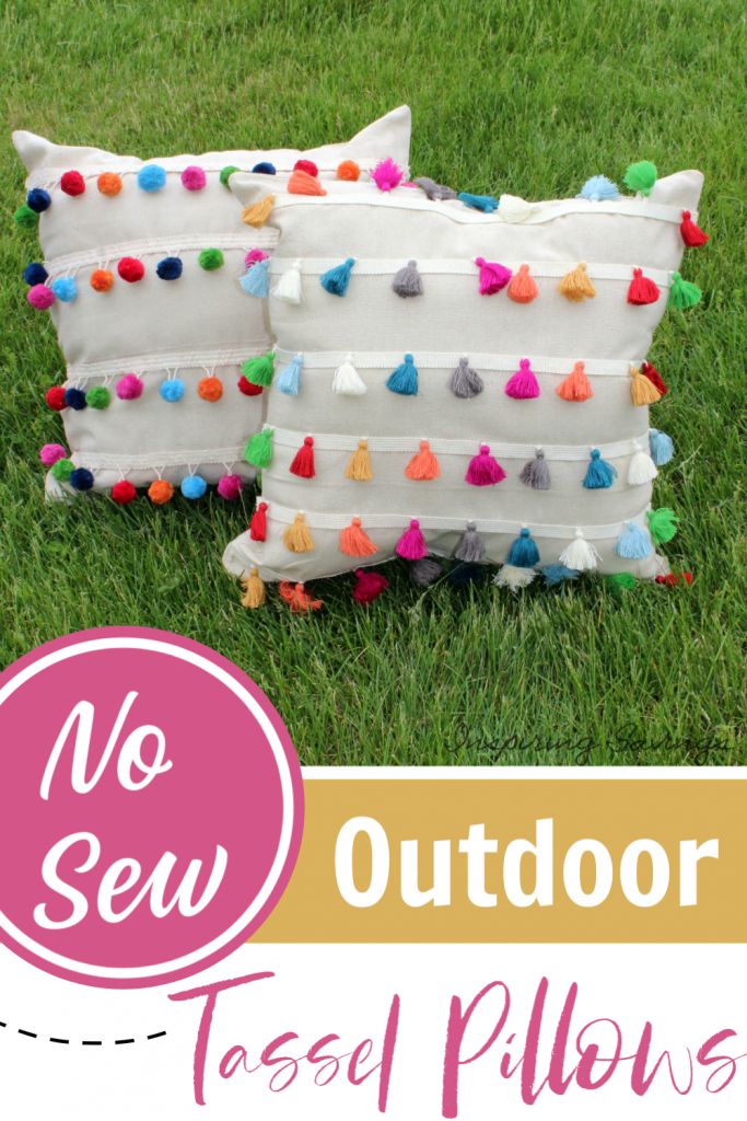 No Sew outdoor tassel pillows on grass