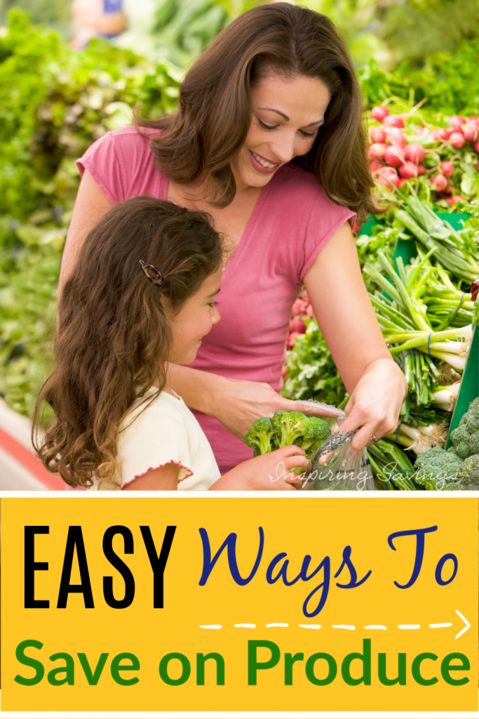 Woman Shopping with Daughter in produce section - Easy Ways to Save on Fresh Produce