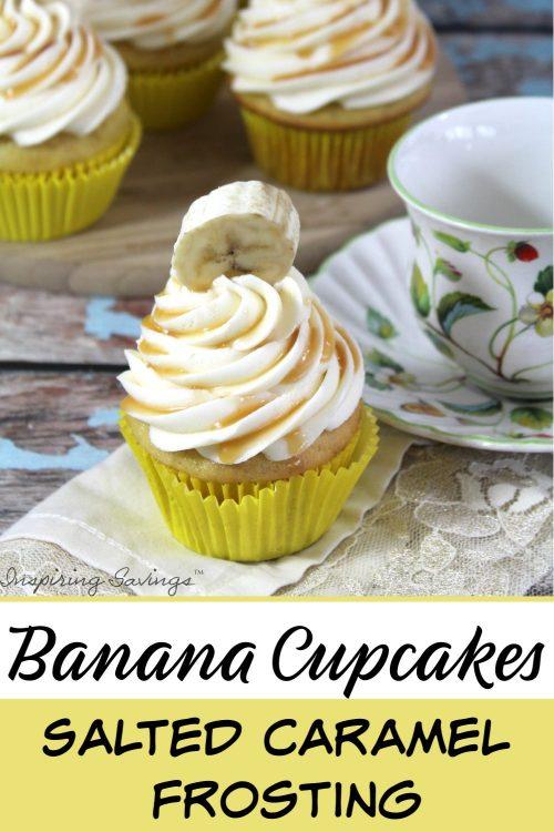 Banana Cupcakes Salted Caramel Frosting