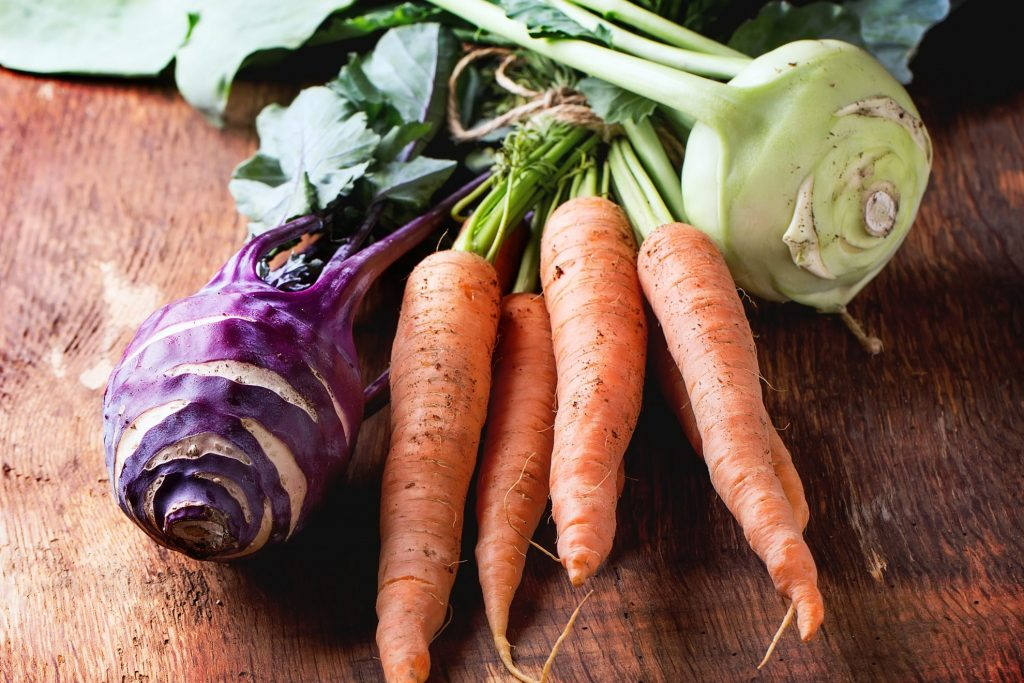 Root vegetables on farmhouse table