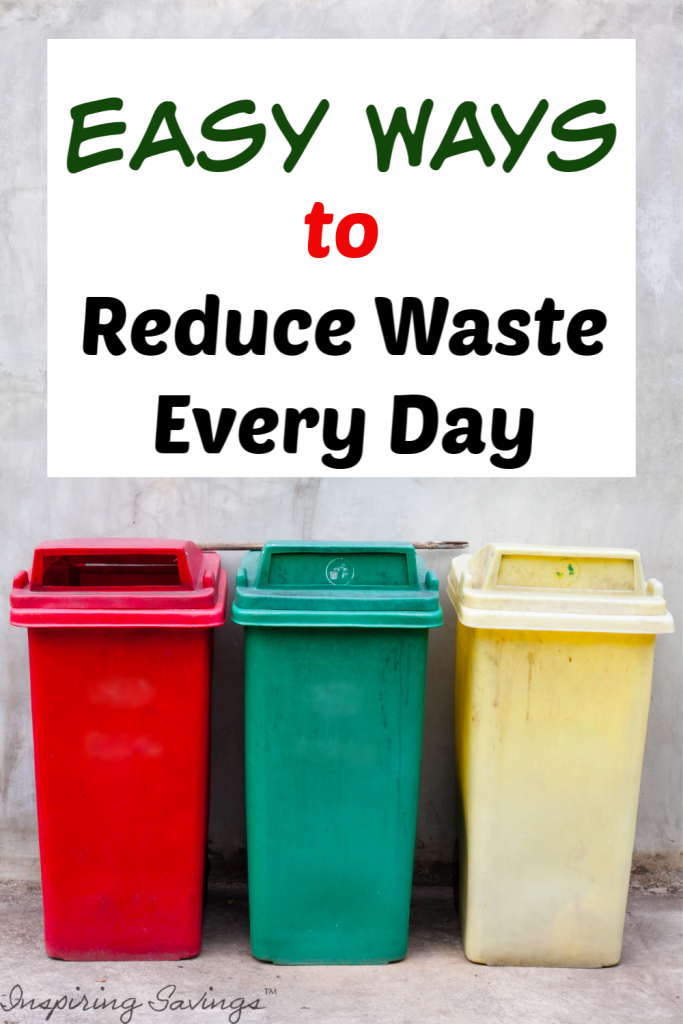 """Red, Green and Yellow Trash bins with text overlay """"Easy Ways to Reduce Waste Every Day"""""""