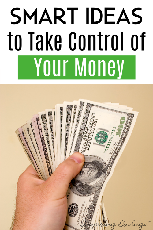 Hand holding Money with Text overlay - Smart Ideas to Take Control of your money