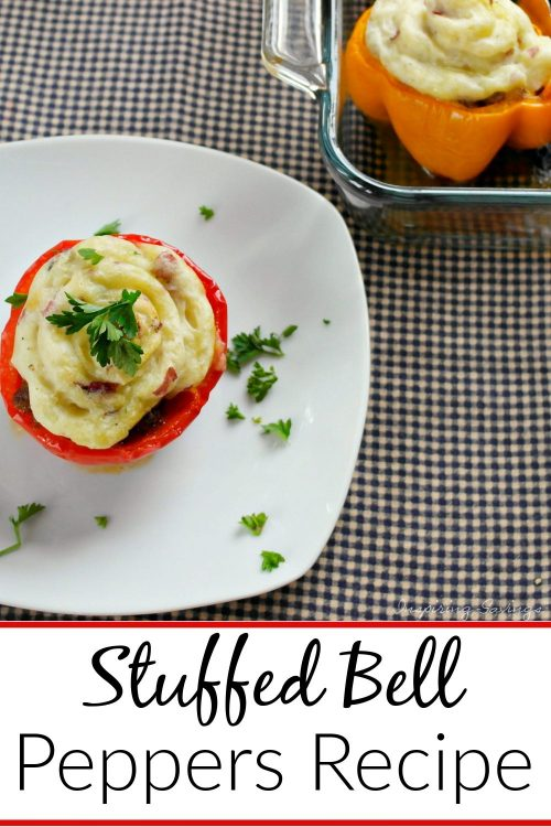 Easy Stuffed Bell Peppers on white plate ready to serve