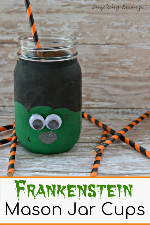 SUPER Fun Frankenstein Mason Jar Cups