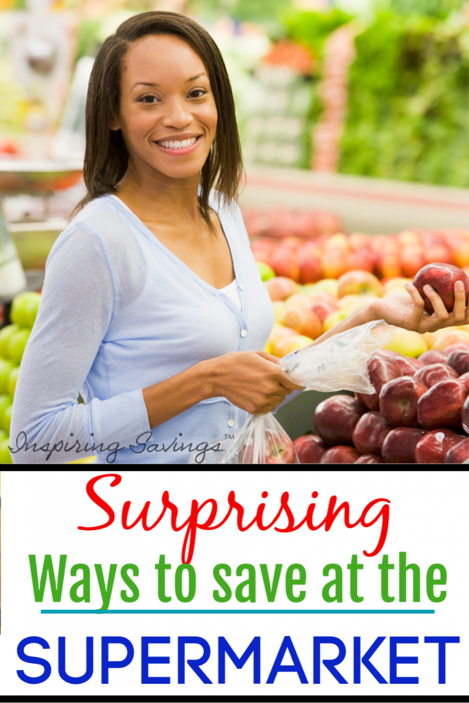 Woman shopping in produce department - surprising ways to save at the supermarket