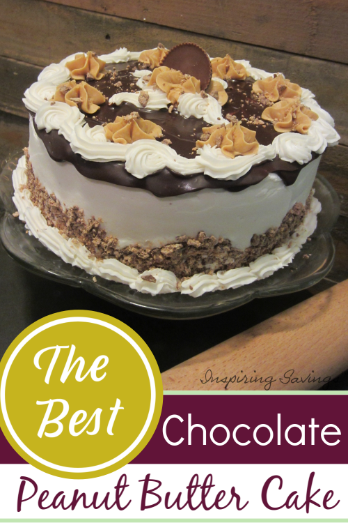 Chocolate Peanut Butter Cake on cake stand with rolling pin