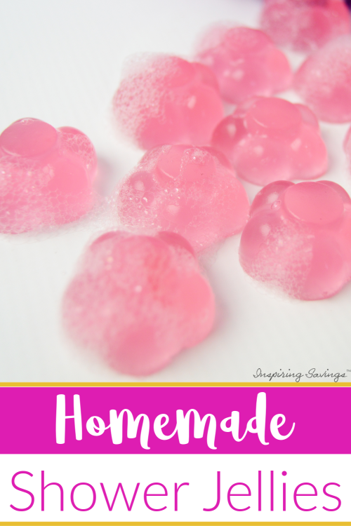 Homemade Shower Jellies on white background