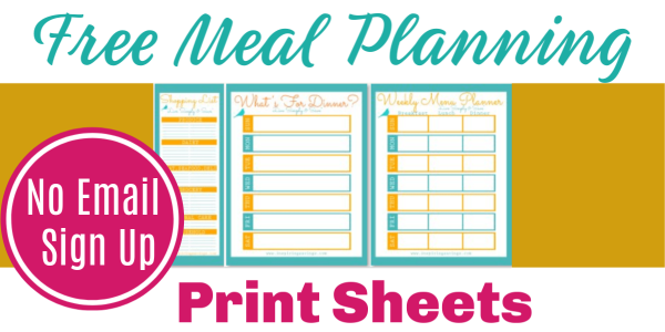 Free Meal planning print sheets