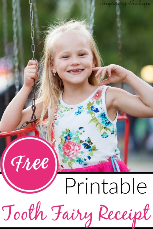 Little girl on swing with missing teeth - Free Printable tooth Fairy Receipt