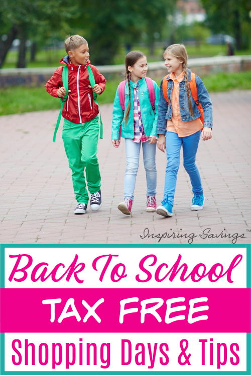 Kids walking to school in brightly colored clothing - Back to School Tax free